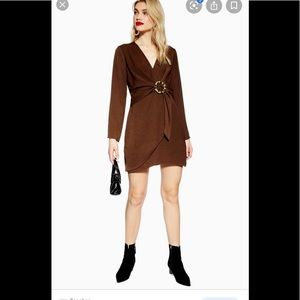Topshop brown mini dress